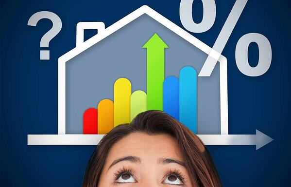 Mortgage rates graphic of person looking up at a graph